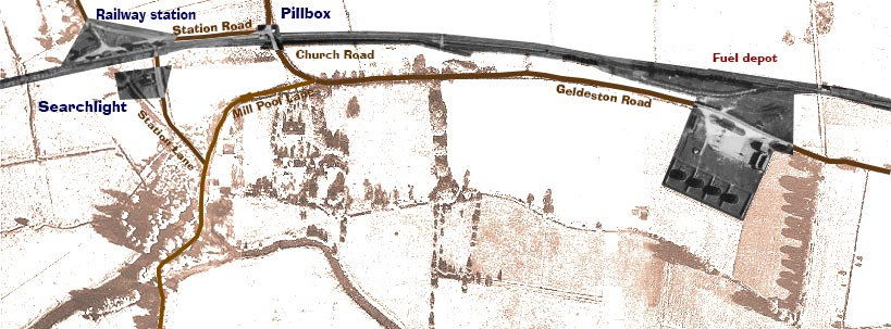 Map of railway line at Ellingham in the 1940s