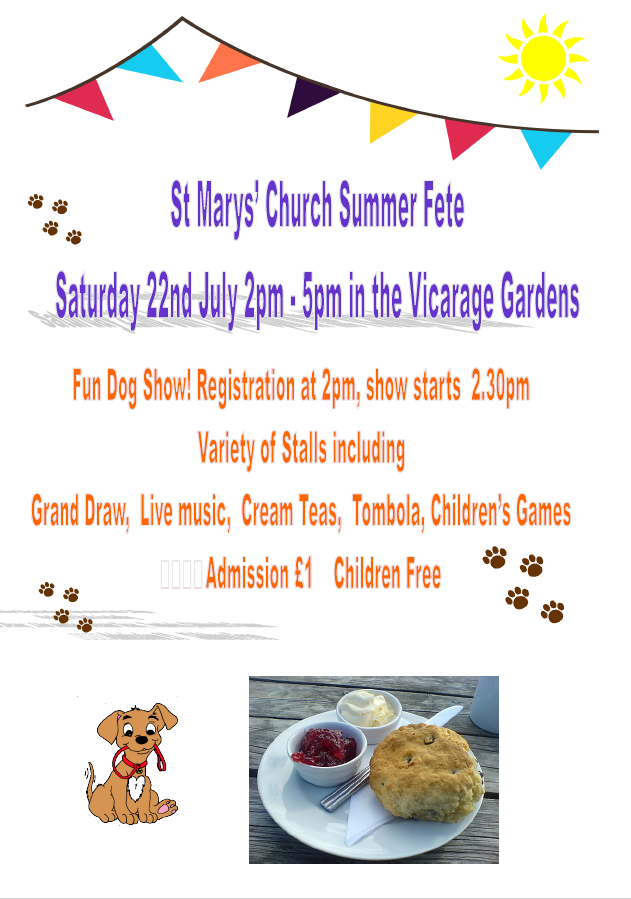 Church Fete. Saturday 22th July. 2pm - 5pm at the Vicarage