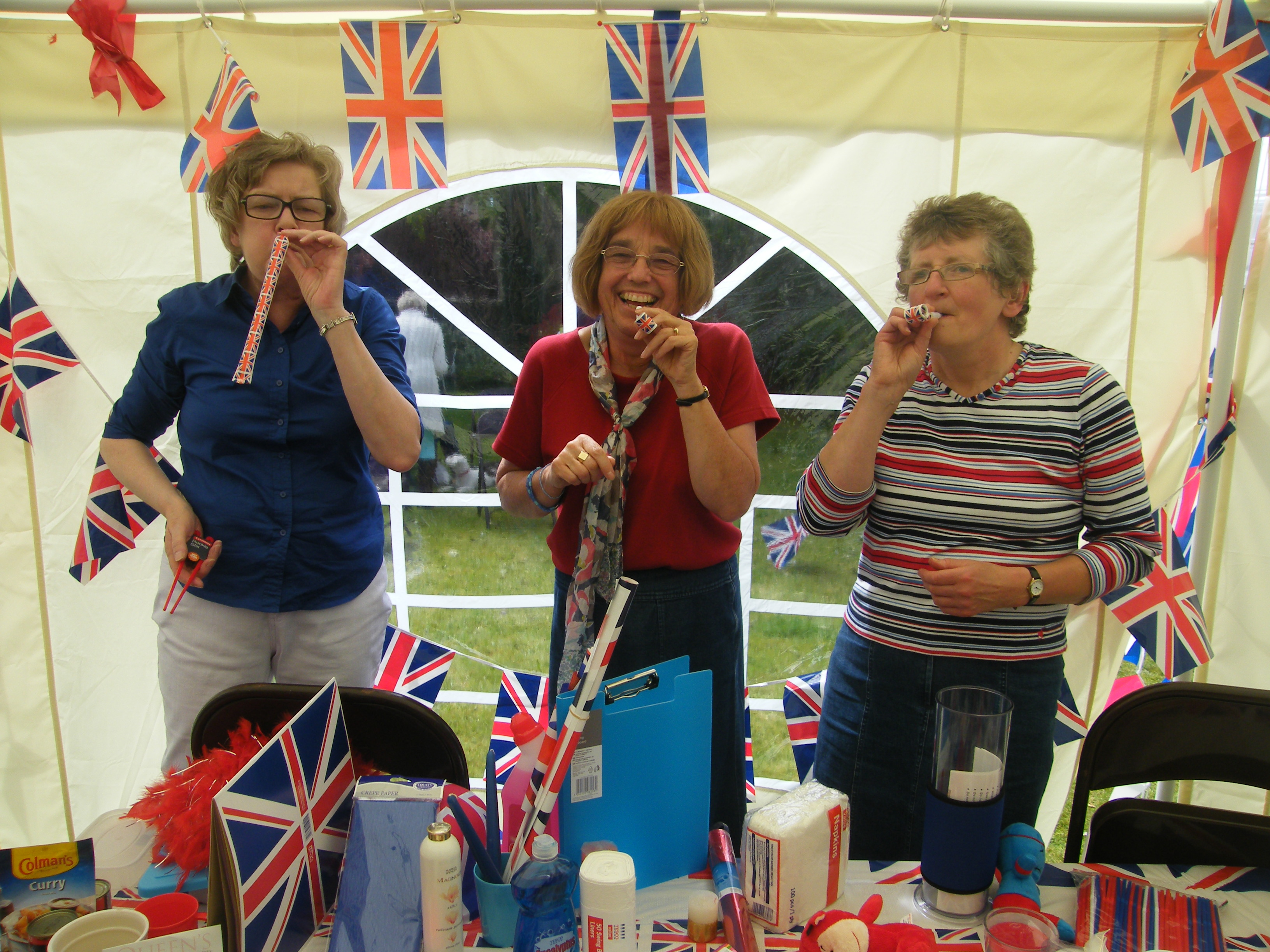 Preparing the Red White and Blue Stall for the Church Fete, June 2012