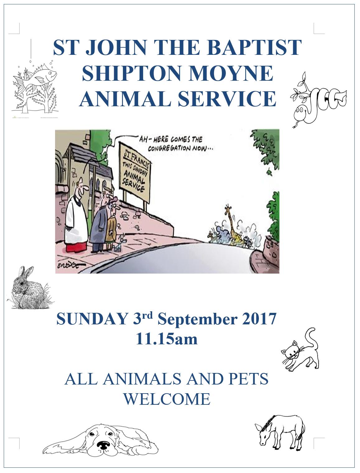 Animal Service at Shipton Moyne. Sunday Sept 3rd. 11:15 am