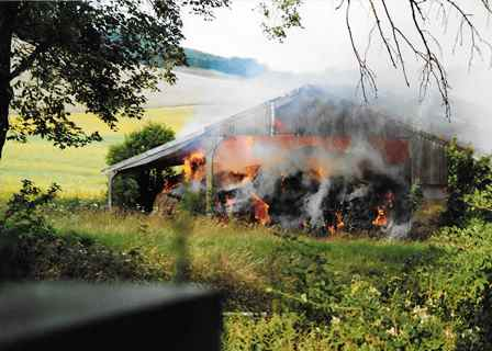 Pilgrims Way barn on fire in 1993. Pat Richardson reported it to emergency services, but the barn was destroyed