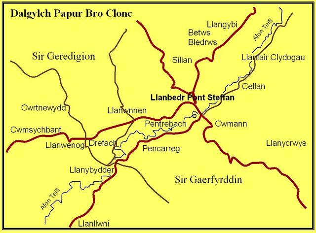 Map ardal Clonc