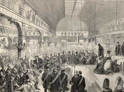 Print of Benjamin Disraeli Addressing a Large Manchester Crowd. (See King William III banner on left of image)