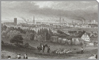 A view of Manchester in the late 1700's