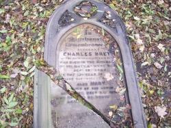 The damaged Brett Family Gravestone