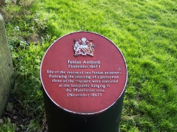 A bigotted commemorative plate beside Hyde Rd