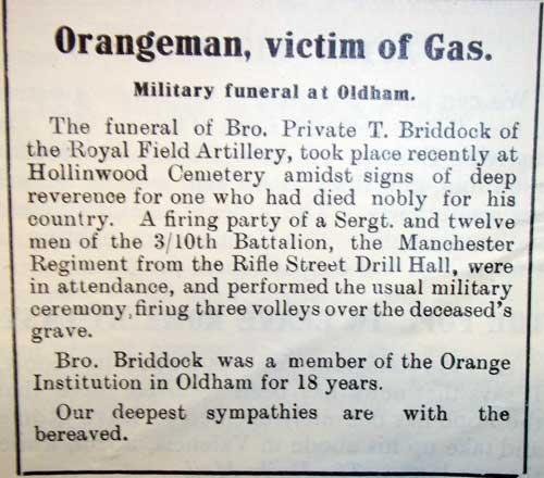 Tom Briddock, Oldham Orangeman