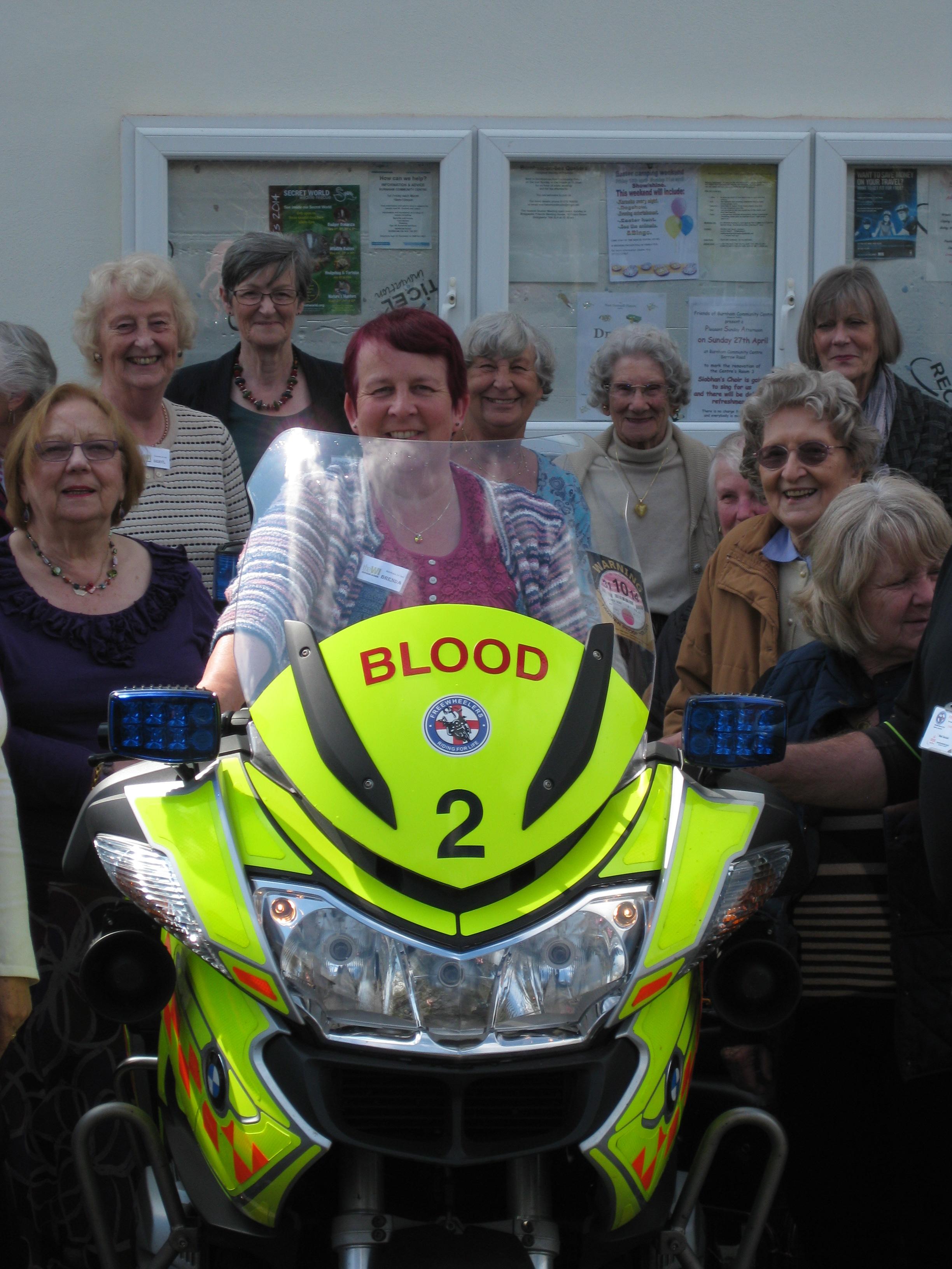 Brenda on the blood bank bike