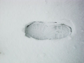 Boot print in snow