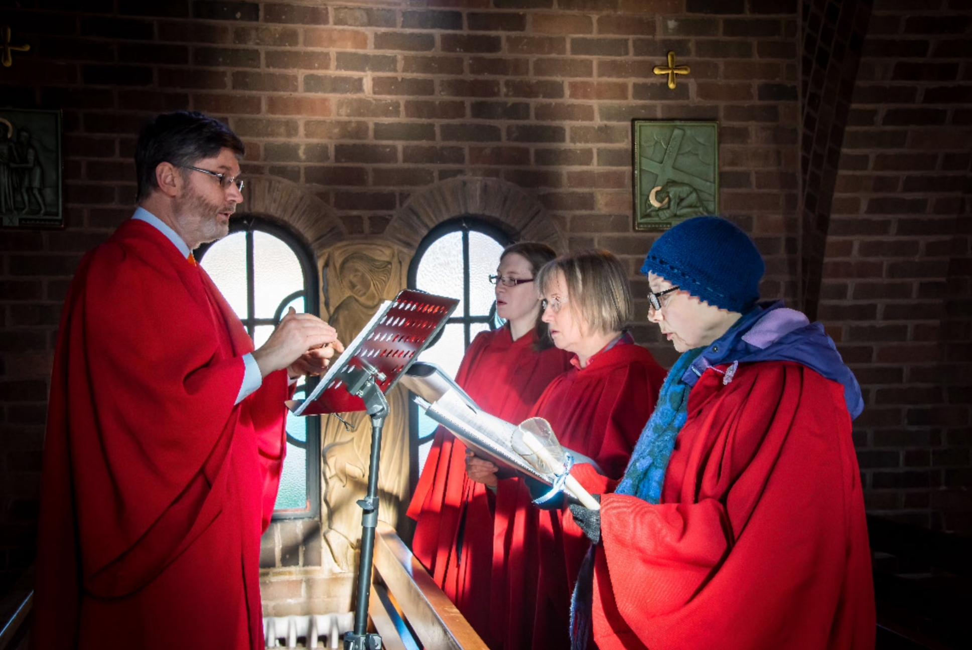 Schola singers at St Winifride's, Shrewsbury (Photo:  Victoria Keens)