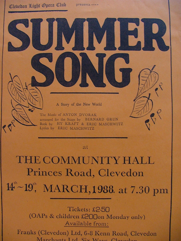 Clevedon light opera club 1980 1989 for 1988 club music