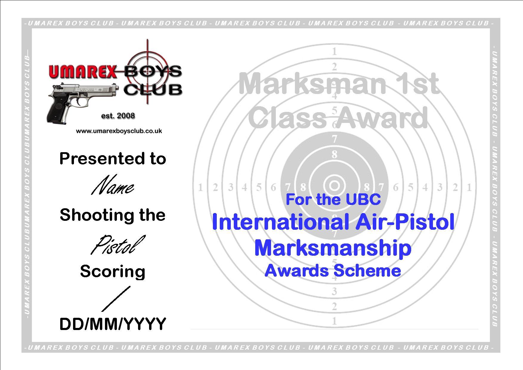 Ubc marksman award scheme certificates marksman 1st class silver grade certificate xflitez Choice Image