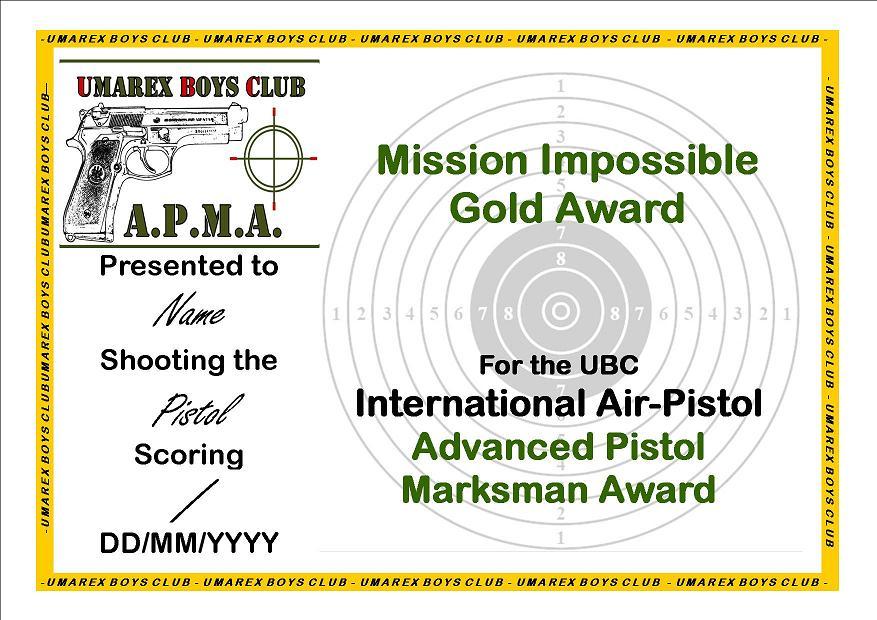 Ubcvanced Pistol Marksman Award Awards Certificates