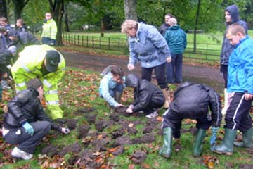 Bulb planting with school children