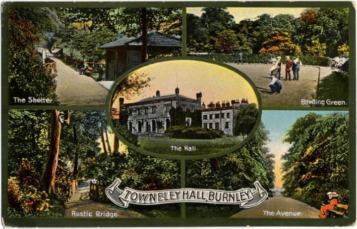 Post card of Towneley, around 1914, with five views
