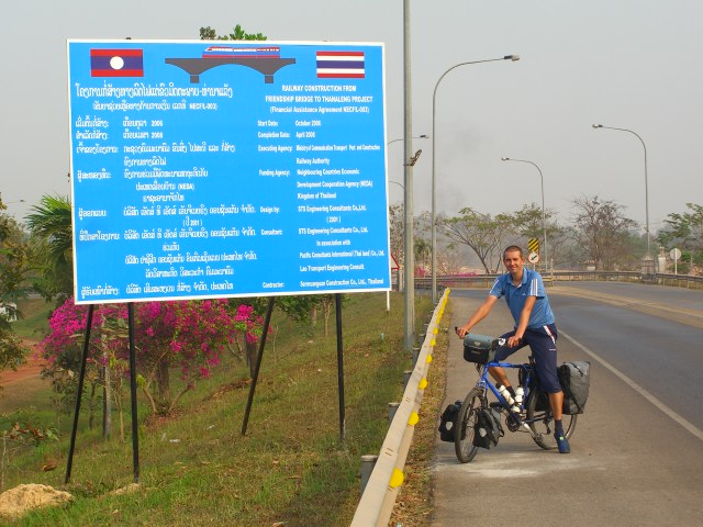 Richard having crossed the Friendship bridge between Thailand and Laos.