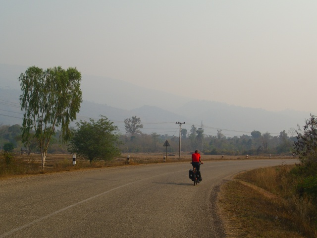 Cycling Route 13 towards Vietnam