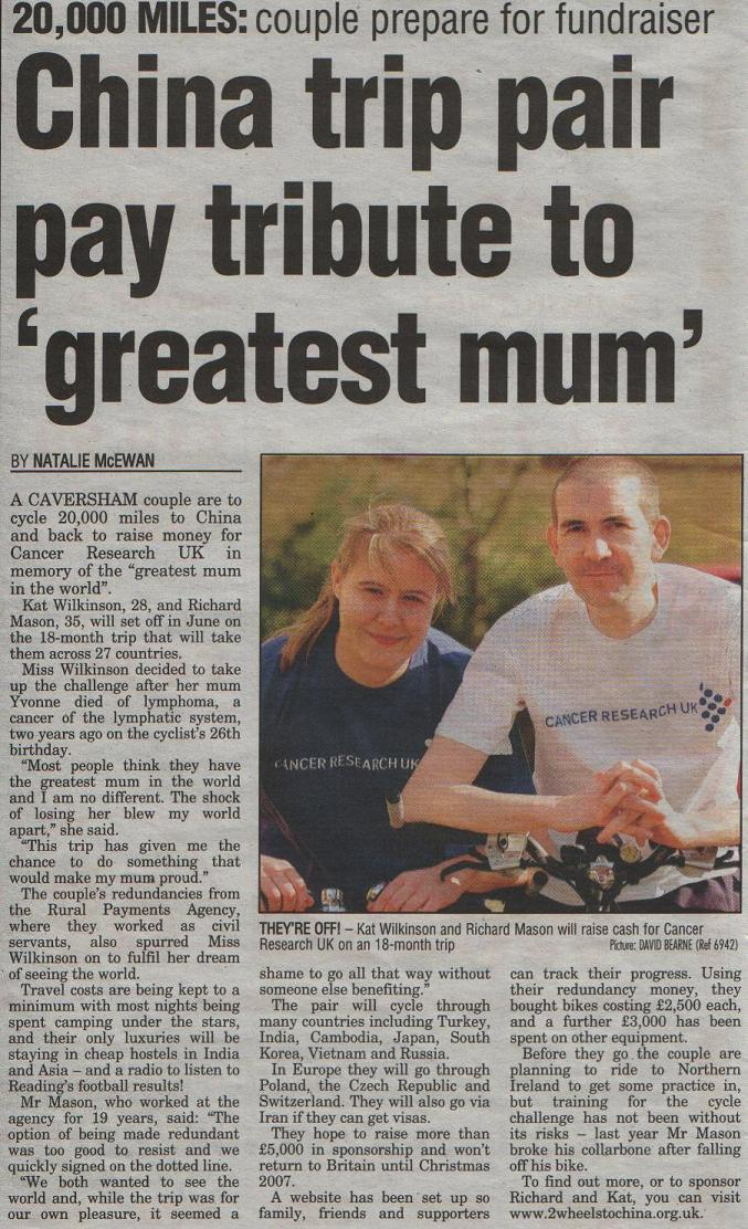 Evening Post article 05 April 2006.
