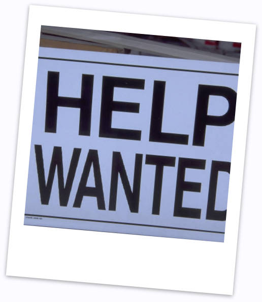 Photo of sign saying 'Help Wanted'