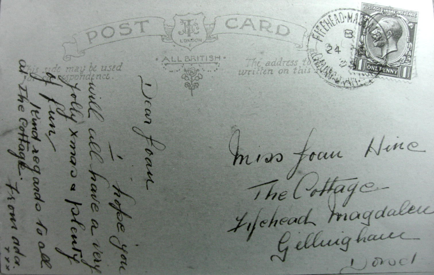 Christmas postcard stmped at Fifead Post Office 24 December