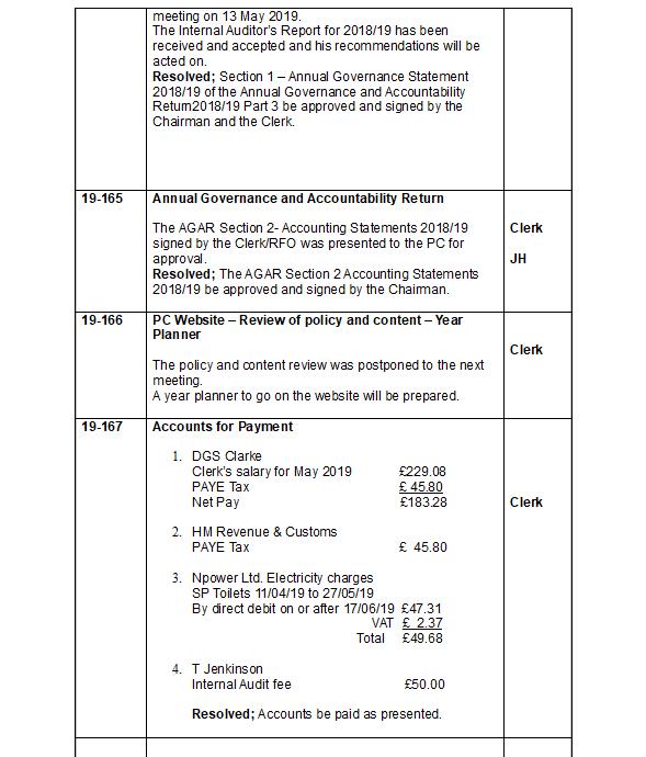 Overton Parish Lancashire - Minutes of the previous meeting
