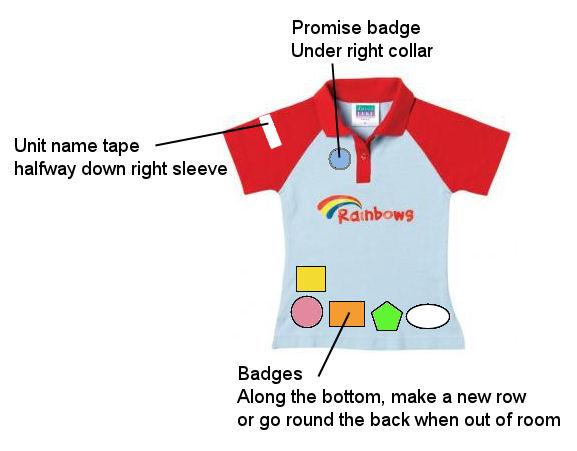 Uniform and badges - 1st Bretton Rainbows